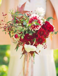 beautiful shades of red bridal bouquet