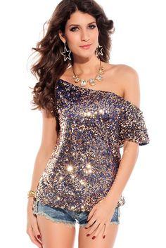2014 Summer Hot Seductive Off-shoulder Glistening Sequin Top Cheap Women's Clubwear Top Blazers For Women, T Shirts For Women, Clothes For Women, Top Azul, Clubwear Tops, Party Tops, Sequin Top, Sequin Shirt, Pink Sequin