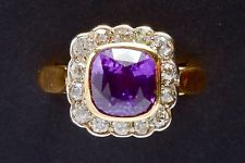 Antique UNHEATED 4.08CT Pink Purple SAPPHIRE DIAMOND Gold Ring AGL CERTIFIED GIA