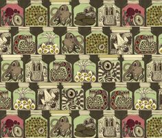I LOVE this wallpaper, super fun. Was thinking it could spice up my new pantry somehow (back of shelves? a single wall?)  (weird pickles vintage by scrummy on Spoonflower)