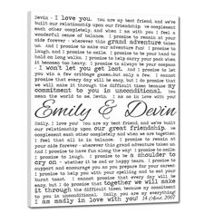 Wedding vows on canvas = super cute reminder. :-)