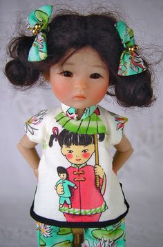 "Asian style fits Ten Ping, Ruby Red Galleria, 8"" doll, bjd. LittleCharmersDollDs #DollClothingforTenPingRubyRedGalleria"
