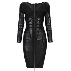 Posh Girl Black Foil Print Long Sleeve Bandage Dress