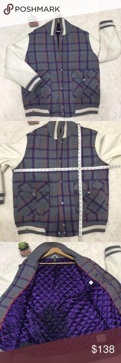 7460109c4d23 Jordan Purple Grey Plaid Letterman Varsity Jacket Men s Jordan Purple Grey  Plaid Letterman Jacket
