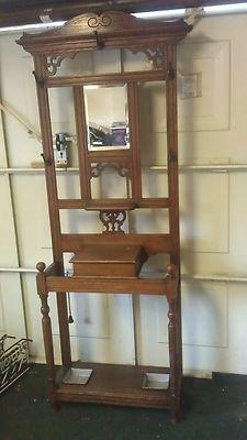 Antique Walnut Mirror Hall Stand Hat Coat Rack 1 Drawer