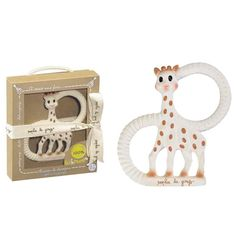 First toy my little one was able to grasp and hold with both hands - milestones. Sophie the Giraffe - So'Pure Teether