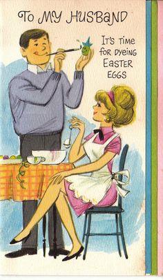 Vintage To My Husband Easter Greetings