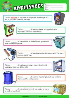 Appliances Find the Words ESL Vocabulary Worksheet