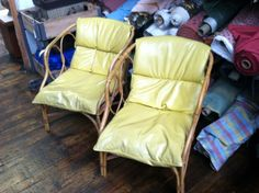 Before & After: Bamboo and Sheep Skin Chairs - Click to see the after!