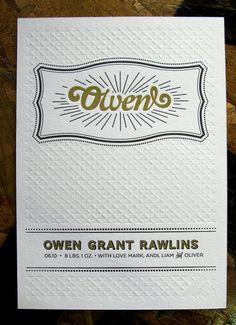 #texture Letterpress-Birth-Announcements-Mark-Rawlins-Mandate-Press5 via @ohsobeautifulpaper