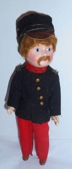 A/0 estate sale RARE *French ADORABLE soldier DOLL composition /close mouth