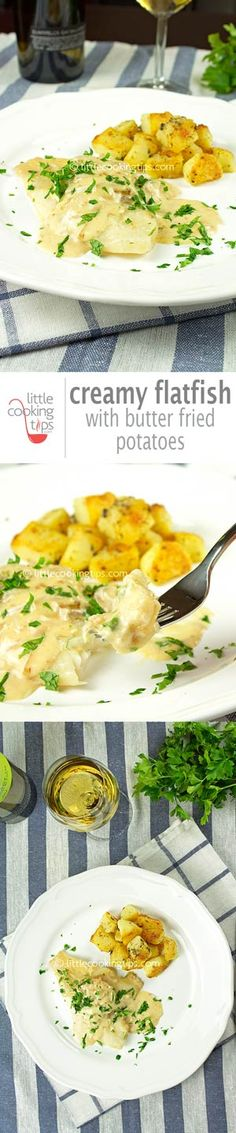 Creamy Flatfish With Boiled and Fried Potatoes Quick Dinner Recipes, Easy Chicken Recipes, Quick Easy Meals, Fish Recipes, Healthy Recipes, Drink Recipes, Seafood Recipes, Yummy Recipes, Yummy Food