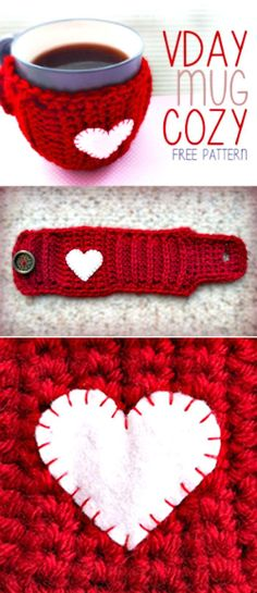 Crochet Valentine's Day Mug Cozy – Free Pattern - 94 Free Crochet Patterns for Valentine's Day Gifts - DIY & Crafts