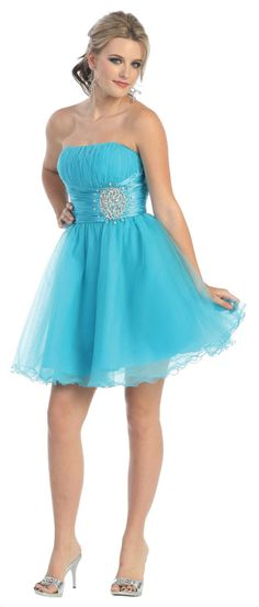 Strapless Pleated Bodice with Beadings Low Back Zipper Short Prom Dress Turquoise Homecoming Dresses, Short Prom Dresses Uk, Dama Dresses, Prom Dress 2013, Turquoise Dress, Sweet 16 Dresses, Grad Dresses, Tulle Prom Dress, Strapless Dress Formal