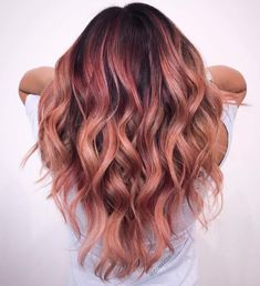 Trends 2018 – Gold Rose Hair Color : Rose Gold Balayage Hair #Rose inwomens.com/…