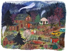 The First Warm Spring Day (2015), watercolor, collage, gouache, colored pencil - Phoebe Wahl