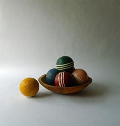 Vintage Wooden Croquet Balls - Multi Colored Wood Balls - Wood Balls Bowl Filler - Chippy - Rustic