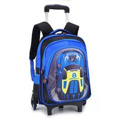 ecb4dfb5952f Kids Trolley School Bag for Boys Cartoon Suitcase on Wheels Waterproof  Children School Backpack Girls Schoolbags
