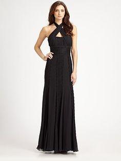 ML Monique Lhuillier - Lace-Trimmed Silk Chiffon Gown
