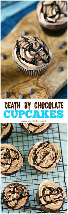 Satisfy your chocolate cravings with this rich and sweet recipe for Death by Chocolate Cupcakes.