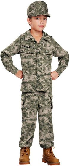 Army Marines Soldier Camo Print Uniform Halloween Costume Outfit Child Boys #CaliforniaCostumeCollection