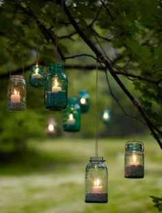 Backyard party lighting ideas do not have to be electric empowered. We can still use candles with beautiful designs and also lantern. Mason Jar Lighting, Mason Jar Lamp, Candle Jars, Backyard Party Lighting, Outdoor Lighting, Lighting Ideas, Fairy Lamp, Diy Garden, Party Lights