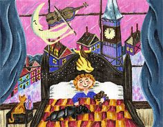 """Original fairy tale needlepoint canvas - Bedtime and Fiddler's Moon. design: 10.5"""" w x 8 1/2""""h  18 mesh  $48.00"""