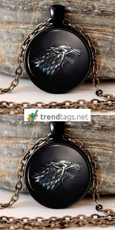 Game of Thrones - Stark Black Wolf - Necklace - FREE WorldWide Shipping on { trendtags.net }   #JuegoDeTronos #Lannister #JonSnow #WinterIsComing #JDT