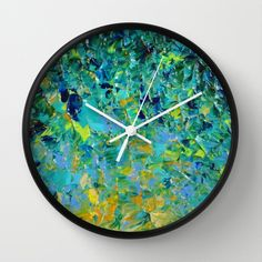 BEAUTY BENEATH THE SURFACE - Stunning Ocean River Water Nature Inspired Elegant Deep Forest hunter Emerald Jade Green Royal Navy Turquoise Periwinkle Placid Blue Vibrant Teal Sunshine Yellow Ochre Aqua Abstract Acrylic Painting Design Decorative Fine Art Home Decor Wall Clock by EbiEmporium - $30.00