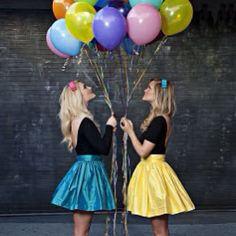 """Our first #partyskirts photoshoot   #partyskirt #skotapparel #teal #daisyyellow #balloons #losangeles #fiveyearsago #tbt"""
