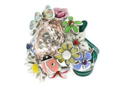 Dior Morganite Large 'Diorette' Ring – Dior 18k white gold ring designed as a garden of enamel flowers, butterfly and lady bug centering a faceted pink morganite stone. The flowers and butterfly also have gem set centers of a diamond and four multi colored sapphires. This is an iconic design by Victoire de Castellane for Dior.