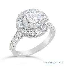 Diamond Halo Engagement Ring Setting - The Diamond Guys Collection Center Diamond Cut: Round Cut  Side Diamonds: 22 (weight = 1.45ct)