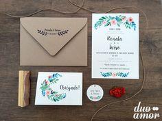 convite casamento floral;  convite casamento rústico; floral aquarela;  www.duoamor.com