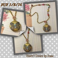 January 2016 Monthly Challenge, Mixed Metals Mania  Locket. All components from bsueboutiques.com  Neck chain is composed of vintage brass bead and copper link chain, from B'sue's ETSY shop, Spectra beads and Czech crystal beads. Heart's Dezire by Irene