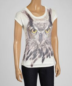 White Owl Tee by Barcode Apparel always have good luck while wearing an owl. This shirt is just adorable 96% polyester / 4% spandex vegan and cruelty free.