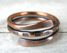 Antiqued Copper Ring Boho Copper Ring Copper Wire by BonzerBeads