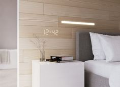 Hidden LED Lights are located within decorative wooden panels for a seamless lighting look.