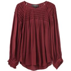 Isabel Marant Dajo Smocking Top ($755) ❤ liked on Polyvore