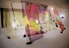 Rachel Hayes, Duality of Light Without Violence, 2008, Installation Lab Gallery, New York, NY, Fabric, vinyl, rocks, paint, music stands, lights, 8 x 36 x 16'.