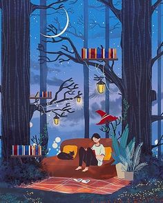Night in the forest, among trees and books (illustration of 제딧 / www… Art And Illustration, Illustrations And Posters, Arte Inspo, Posca Art, Reading Art, Speed Reading, Reading Fluency, Cartoon Wallpaper, Aesthetic Art