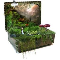 Some great ideas here!  Pic in the background,  planted in old jewelry box, cut figures......lovely.