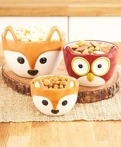 Winter Fox & Owl Tabletop Collection: set of 3 bowls