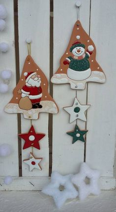 Clay Christmas Decorations, Wooden Christmas Ornaments, Clay Ornaments, Noel Christmas, Christmas Crafts, Xmas, Holiday Decor, Clay Crafts, Diy And Crafts