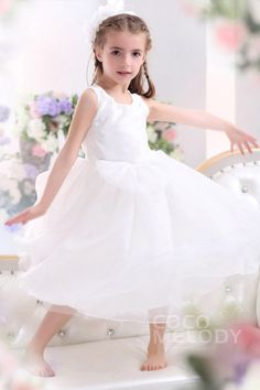 Cute A Line Tank Top Tea Length Tulle Ivory Flower Girl Dress CKZI13001#Cocomelody# flowergirldress#