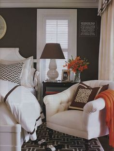 Gray and brown and a punch of color....like the orange or even turquoise would be nice!!!