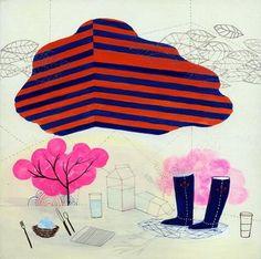 Angular Cloud print by Betsy Walton Rain Illustration, Landscape Illustration, Illustrations, Graphic Illustration, Yellena James, Drawing Games, No Rain, Favim, Affordable Art