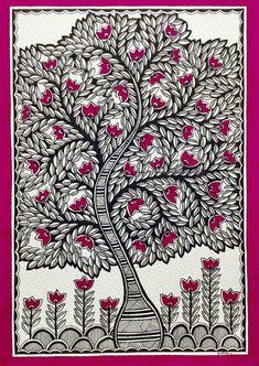 """The Tree Of Life 9 """"Kalpvriksha- The Tree Of Life by Pratibha Madan. Paintings for Sale. Bluethumb - Online Art Gallery""""Kalpvriksha- The Tree Of Life by Pratibha Madan. Paintings for Sale. Madhubani Paintings Peacock, Kalamkari Painting, Madhubani Art, Indian Art Paintings, Traditional Paintings, Traditional Art, Tree Of Life Painting, Tree Of Life Art, Gond Painting"""