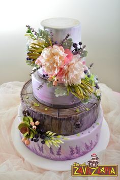 Lavender Wedding Cake - Rustic, lavender wedding cake with gum paste flowers.