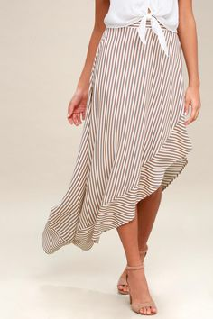 Dance along the pier in the King Harbor Tan and White Striped Maxi Skirt! An asymmetrical maxi skirt in a striped pattern. Striped Maxi Skirts, Stripe Skirt, White Skirts, Dressy Dresses, Cute Dresses, Trendy Clothes For Women, Trendy Outfits, Tan Skirt, Work Fashion