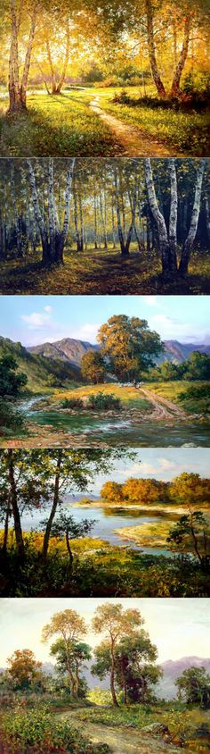 Художник Hong Cheolung|Прелестные пейзажи Easy Landscape Paintings, Landscape Art, Art Pictures, Nature Pictures, Outdoor Paint, Art Techniques, Beautiful Landscapes, Painting Inspiration, Nature Photography